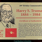 SALE Harry S. Truman 100th B-Day Commemorative Solid 14KT Goldpiece