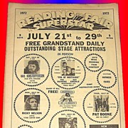 REDUCED 1972 Reading Fair Program featuring Ricky Nelson and his Stone Canyon Band