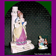 SALE Beautiful Victorian Style Young Lady Figurine and Lady & Boy Placecard Holder, Both Germa