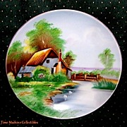 SALE Beautiful Signed Hand Painted Shofu China Occupied Japan Scenic Plate, 7 3/8� in Diameter