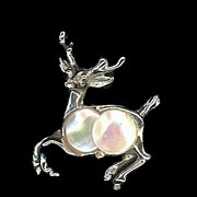 REDUCED Vintage Gold Tone Prancing Reindeer Pin with Mother of Pearl Body