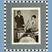 Rare Count Basie Photo with Russ Hager, Drummer