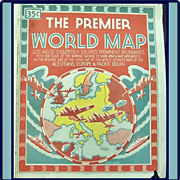 REDUCED Large 1943 WWII Premier World Map‏