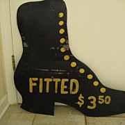 Vintage Metal Advertising Sign - Old Victorian Shoe or Boot