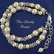 TWO STRAND WEDDING BRACELET � Swarovski crystals and Swarovski Pearls