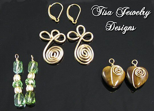 SWIRLS - Interchangeable earrings – Faceted glass, Tiger's Eye hearts, Swirled wire