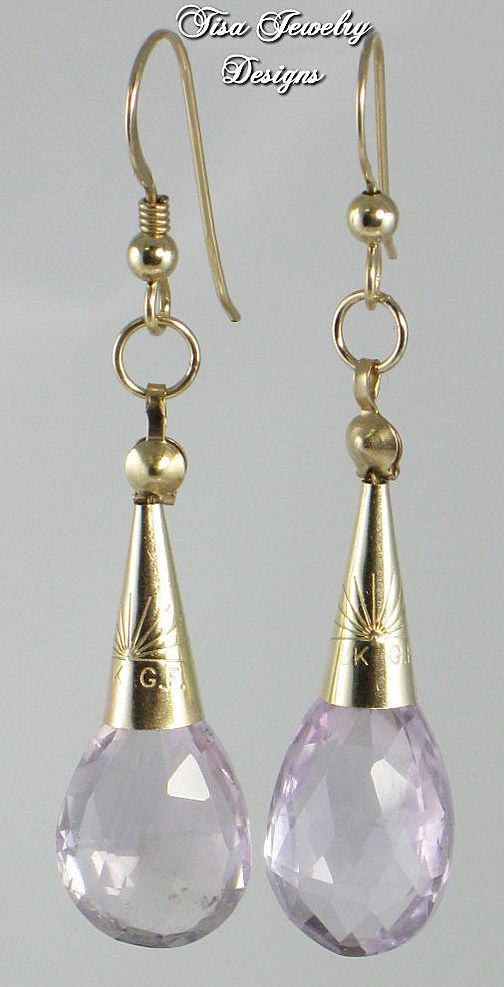 HEIRESS &ndash; AA faceted lilac amethyst drop earrings with 14 Kt gold-filled cones