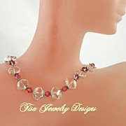 LESLIE  NECKLACE� Premium quartz crystal with rose Swarovski crystals and sterling silver hear