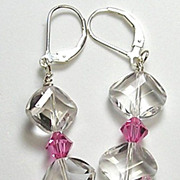 LESLIE EARRINGS � premium quartz crystals and Swarovski rose crystals on sterling silver ear w