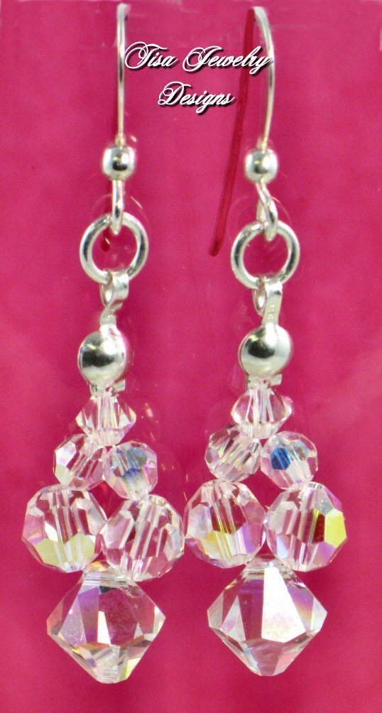 KRYSTAL EARRINGS – lovely bouquet of Swarovski crystals on Argentium silver French ear wires