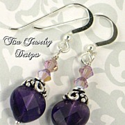 SABRINA � Premium faceted amethyst hearts with Swarovski crystals and sterling silver