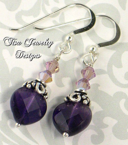 SABRINA – Premium faceted amethyst hearts with Swarovski crystals and sterling silver