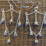 MATRIX � Hand-crafted chandelier earrings of premium, faceted amethyst drops FREE SHIPPING