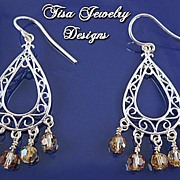 TOPAZ  MANDOLINS �Sterling silver filigree and Swarovski crystal chandelier earrings