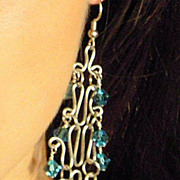 RITA � Handcrafted sterling silver chandelier earrings with Swarovski crystals