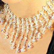 DIANA  Elaborate choker of Swarovski crystals and Swarovski crystal simulated pearls