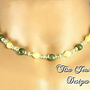 SALE TWO JADES  � Necklace of nephrite jade,  yellow jadeite and Swarovski crystals