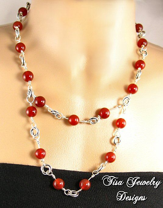FIERY necklace of carnelian gemstones on heavy, hand-crafted chain