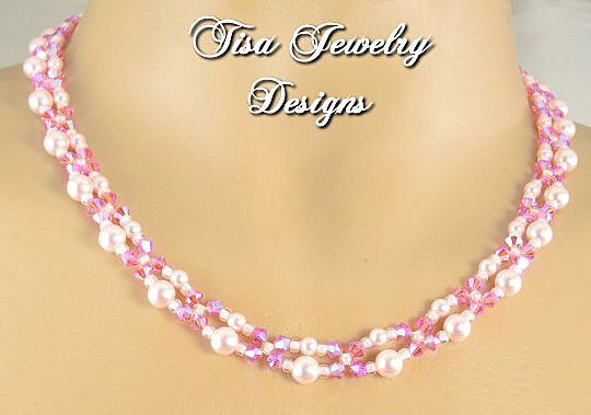 SCINTILLATING NECKLACE - Rose-colored Swarovski crystal pearls and crystals