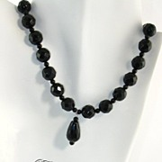 SAMANTHA - Necklace of black onyx faceted oval pendant and black onyx faceted beads