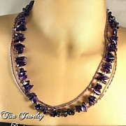CHARLEMAGNE � 3-strand necklace of premium smooth amethyst small stones