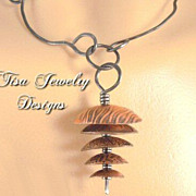 TIBETAN DREAMS PENDANT � Hand-forged and textured copper domes on hand-forged steel chain