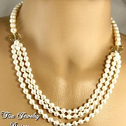 SALE JASMINE � Creamy freshwater cultured pearls and Swarovski Cosmic Crystals. 14 Kt Gold Cla