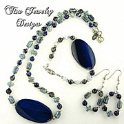 SALE RIVERDANCE NECKLACE, BRACELET & EARRINGS - Lapis Lazuli, Chalcedony, Blue Agate focals an