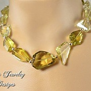 AAA LEMON QUARTZ NECKLACE & EARRINGS � Breathtaking set with deep lemon color