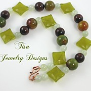 GREENBRIER � Unisex necklace of fancy jasper, red tiger�s eye and olive serpentine stones