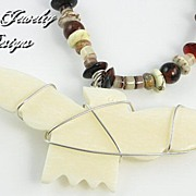 EAGLE � Man�s or woman�s necklace of zebra onyx, leopard jasper, and agate. Sterling silver cl