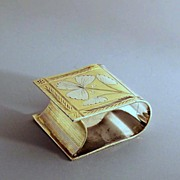 Handsome Gilded Bible Napkin Ring Victorian Silverplate