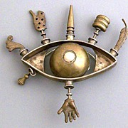 Thomas Mann All seeing Eye Sculptural Pin  with Seven Mystical Charms