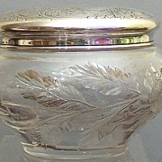 Hawkes Gravic Glass Dresser Jar with Gorham Sterling Top