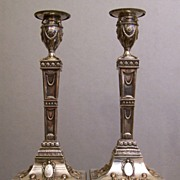 Egyptian Revival Candlesticks Old Sheffield Plate 1810
