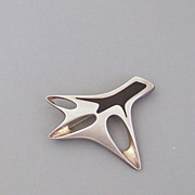 Modernist Georg Jensen Sterling and Enamel Pin Henning Koppel