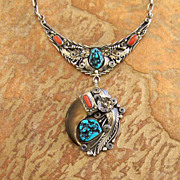 Colorful Native American Silver Necklace HB