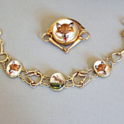 Fox Hunt Bracelet & Pin Reverse Painted & Carved Rock Crystal 14K