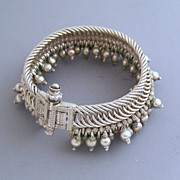 Indian Tribal Heavy Woven 800 Silver Bracelet with Bangles