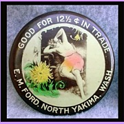 SOLD Antique Trade Token Pocket Mirror Nude Advertising Yakima WA Salt Lake City Utah
