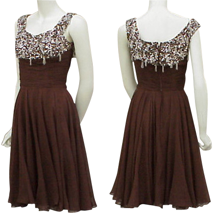1960s Silk Beaded Rhinestone Cocktail Dress Ceil Chapman