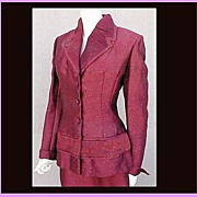 SOLD Dramatic Vintage Lilli Ann Suit Size L Custom Fabric Vintage Va Voom! TLC