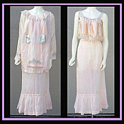 Rare Edwardian Blouse Skirt Camisole XL Pink Silk Antique Art Nouveau