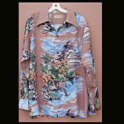 Very Rare 1940s Hawaiian Shirt Ross Sutherland Long Sleeve Size Large