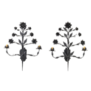 SALE Huge Vintage Pair Hand Wrought Iron Rose Sconces