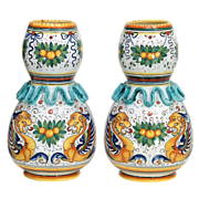 SALE Pair Vintage Volpi Deruta Hand Painted Raffaellesco Majolica Vases