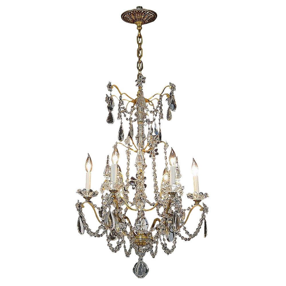 Antique 6 Light French Gilt Brass Crystal Chandelier from