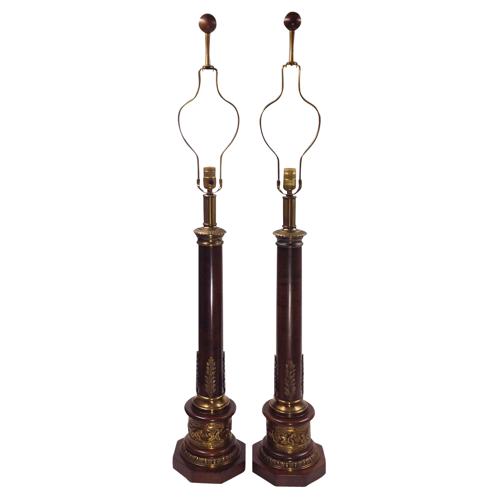vintage paul hanson lamps tall wood from tolw on ruby lane. Black Bedroom Furniture Sets. Home Design Ideas