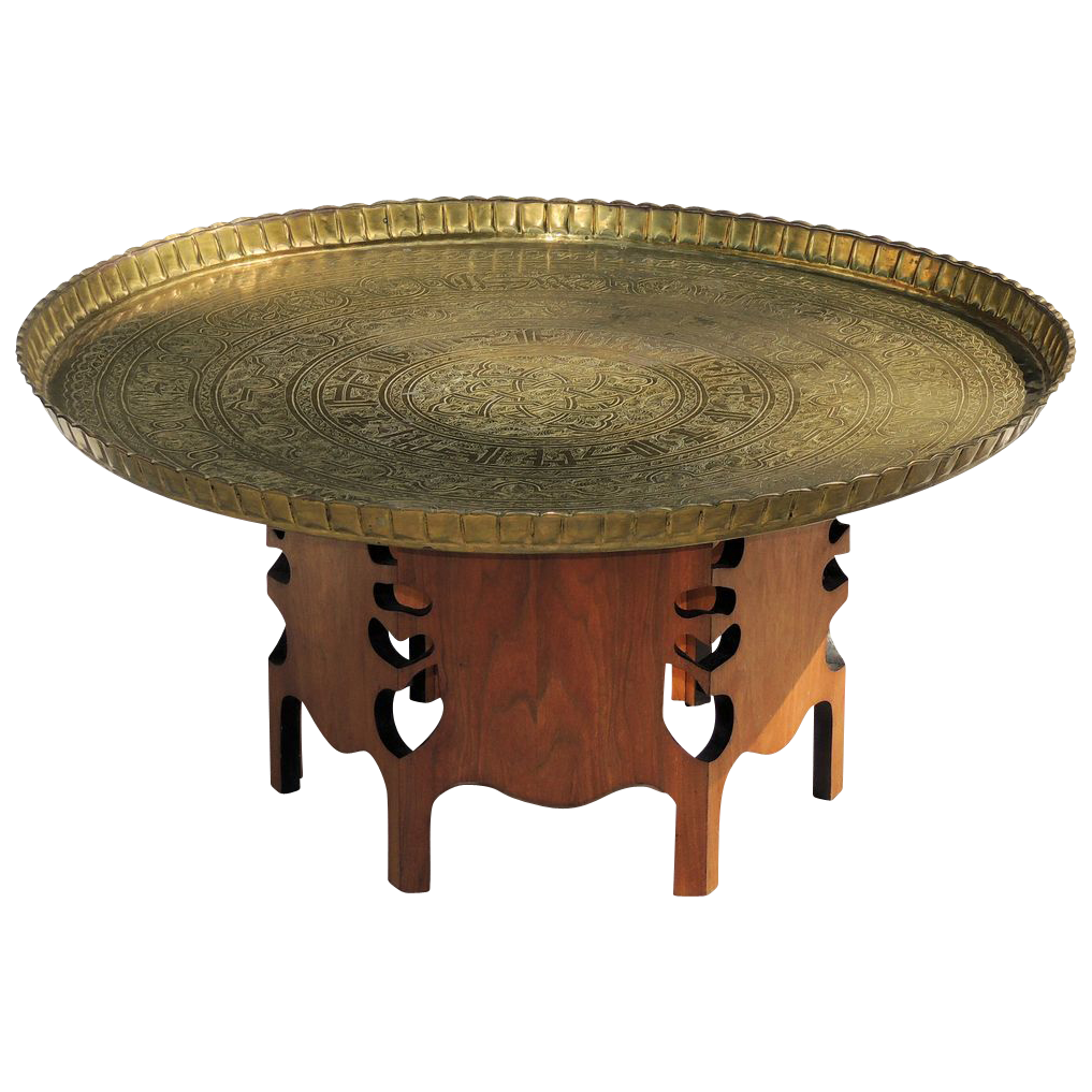 Vintage 1950s Moroccan Brass Tray Table From Tolw On Ruby Lane