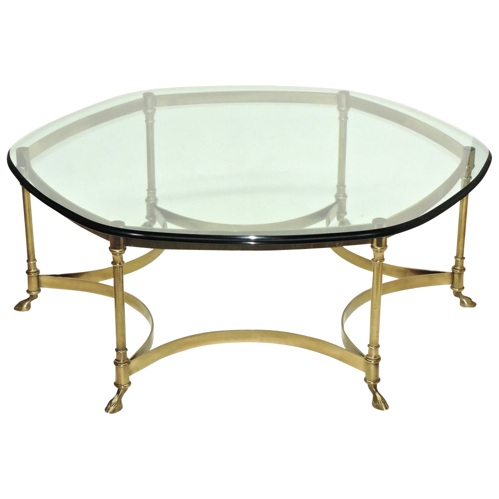 Small Brass And Glass Coffee Tables: Vintage La Barge Brass Coffee Table